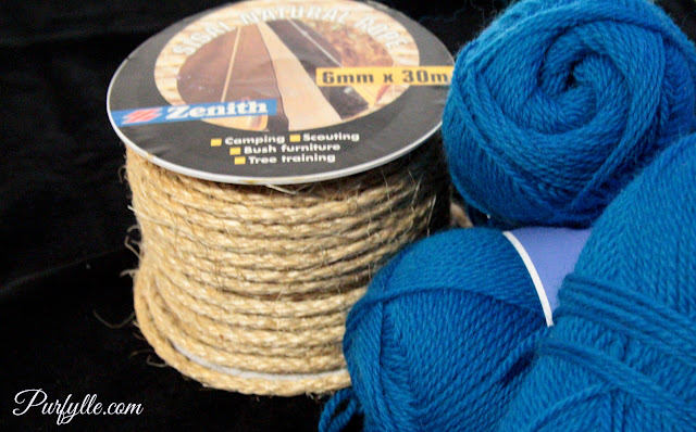 30m roll of sisal rope and 3 balls of wool