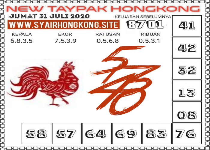 Kode syair Hongkong Jumat 31 Juli 2020 179