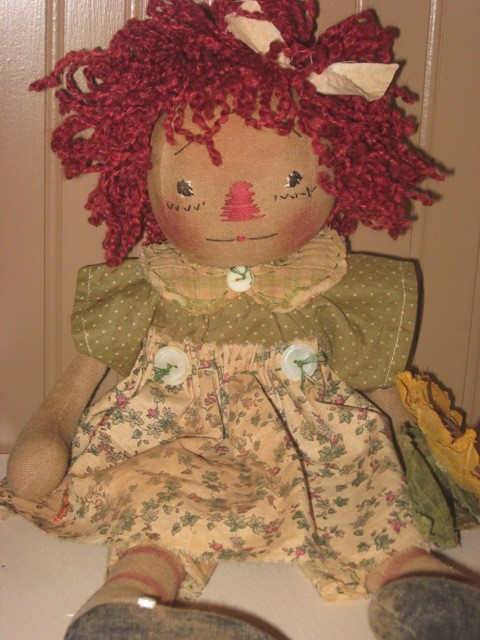 Handmade Teddy Bears and Raggedies Sweet and Pretty is What this Raggedy Annie Is