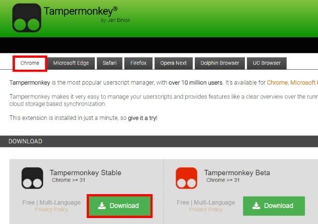 Downloading Tampermonkey
