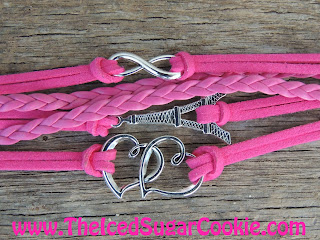 Hot Pink Hearts Paris Infinity Sign Leather Bracelet by The Iced Sugar Cookie