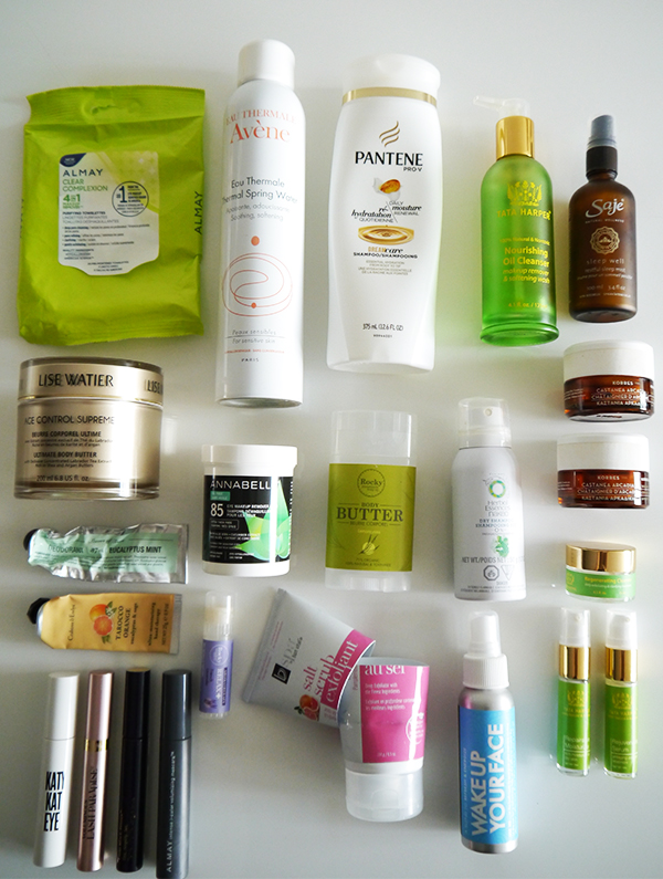 Empty beauty and skincare and bodycare products featuring Almay, Avene, Pantene, Saje, Rocky Mountain Soap Co, Annabelle, Lise Watier, Herbal Essences, Crabtree & Evelyn, Leaves of Trees, Tata Harper, Estee Lauder, L'Oreal, Cover Girl