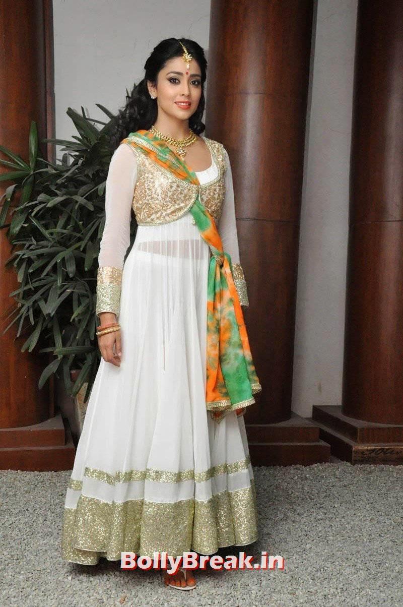 Actress Shriya Saran Photo Gallery, Shriya Saran Latest Hot HD Pics in White Anarkali Dress