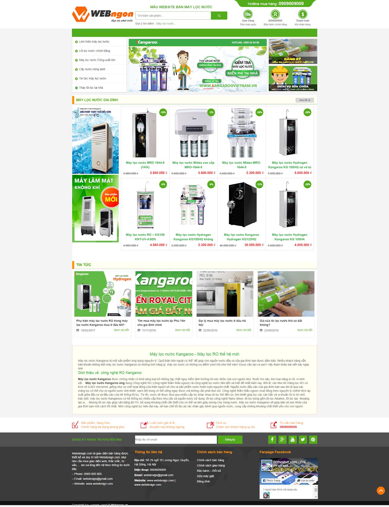mẫu sản phẩm máy lọc nước wn030