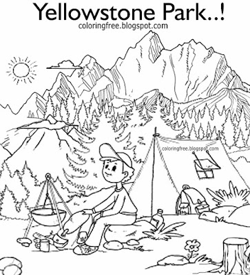 Montana outdoor vacation campsite in Yellowstone countryside camping coloring American kids drawings