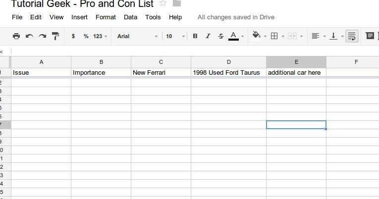 How to make an effective pro and con list using a spreadsheet – Pro Con Worksheet
