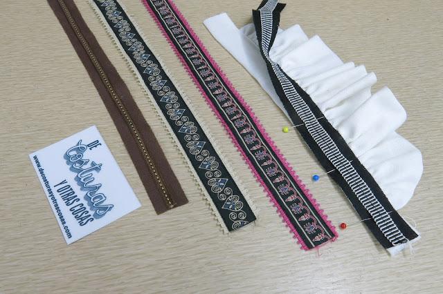 coser cintas de pasamanería como adorno
