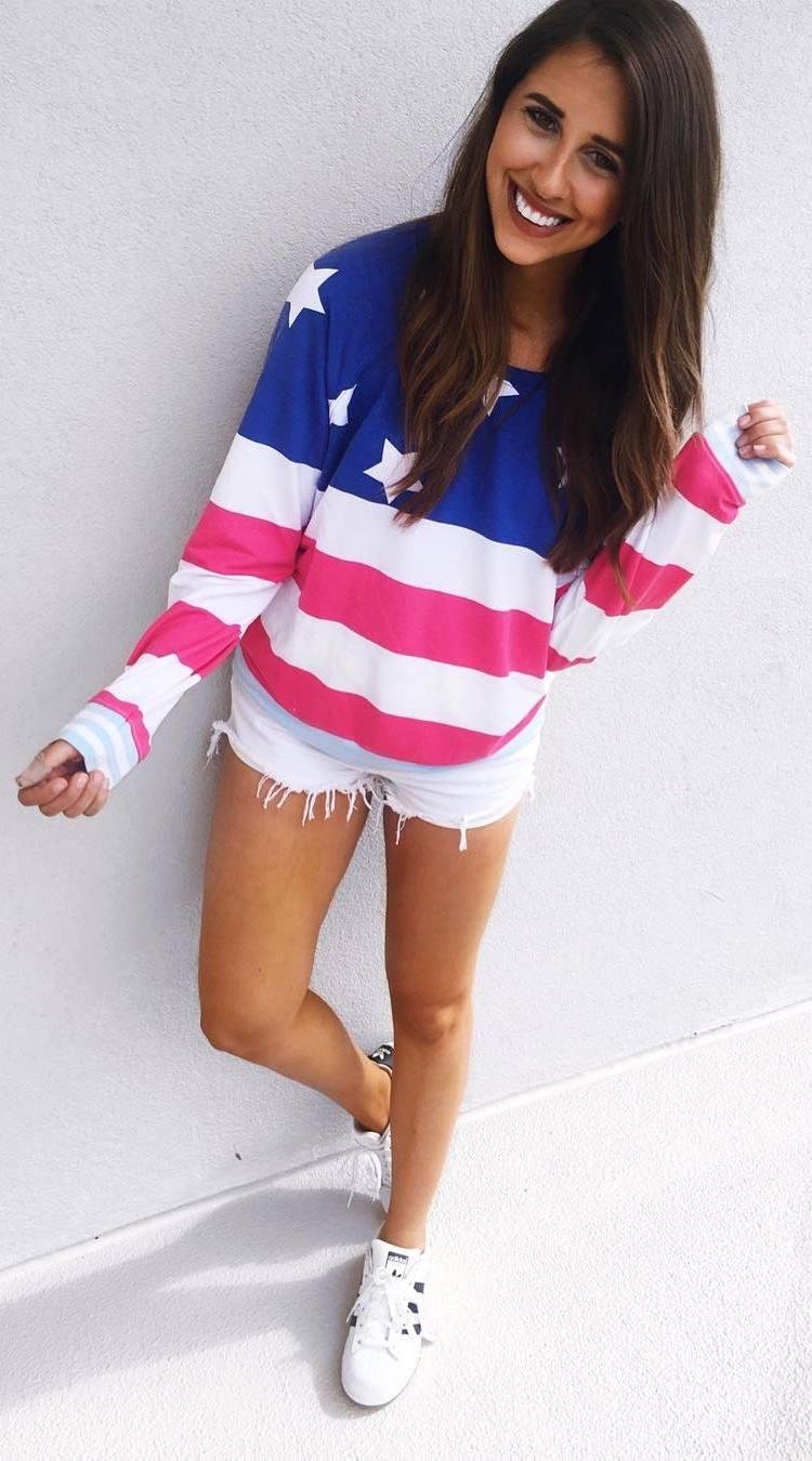 cool outfit idea: sweatshirt + shorts