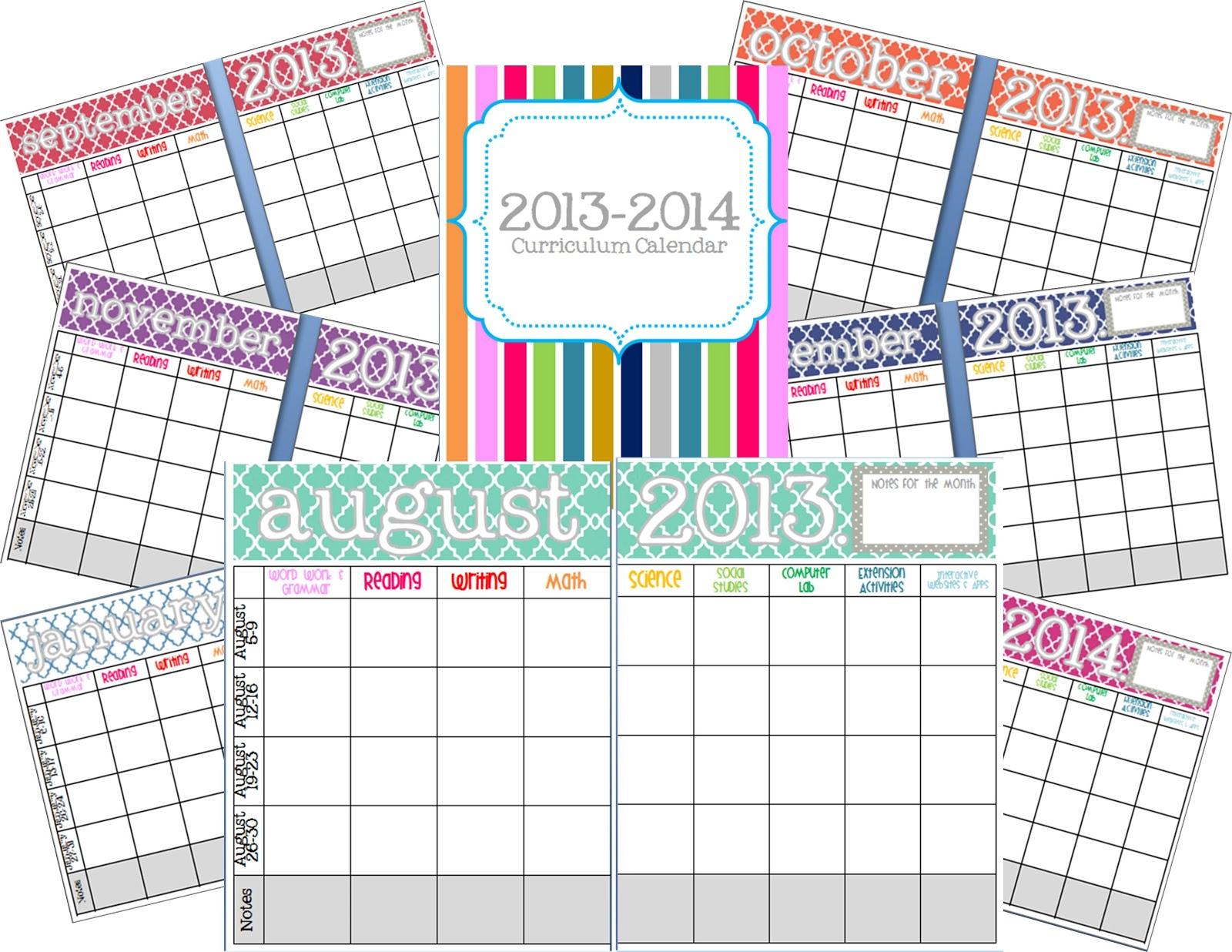 Elementary Organization Curriculum Planning Calendario