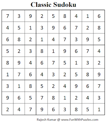 Classic Sudoku (Fun With Sudoku #83) Solution