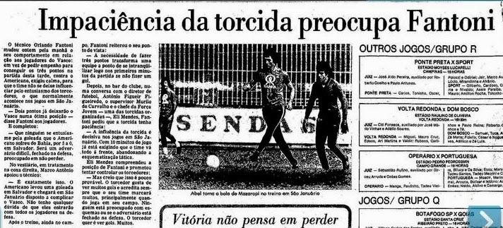 Torcidas do Vasco  FORÇA JOVEM 1978  IMPACIÊNCIA DA TORCIDA PREOCUPA ... 0a13f7192db32
