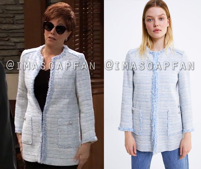 Alexis Davis, Nancy Lee Grahn, Light Blue Tweed Topper Jacket, General Hospital, GH