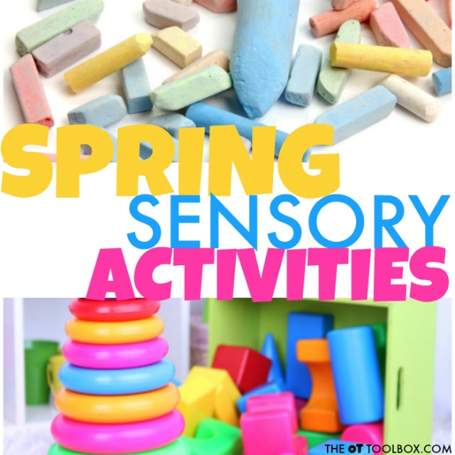 Use these spring themed activities to develop and address areas that are difficult for the child with sensory processing needs, including tactile discrimination, tactile defensiveness, bilateral coordination, gravitational insecurity, and other areas.