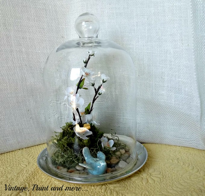 Spring in a Cloche - glass cloche with bluebird and faux flower vignette