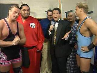 WWF / WWE SURVIVOR SERIES 95 - Owen Hart, Yokozuna, Dean Douglas, Jim Cornette and Mr. Fuji