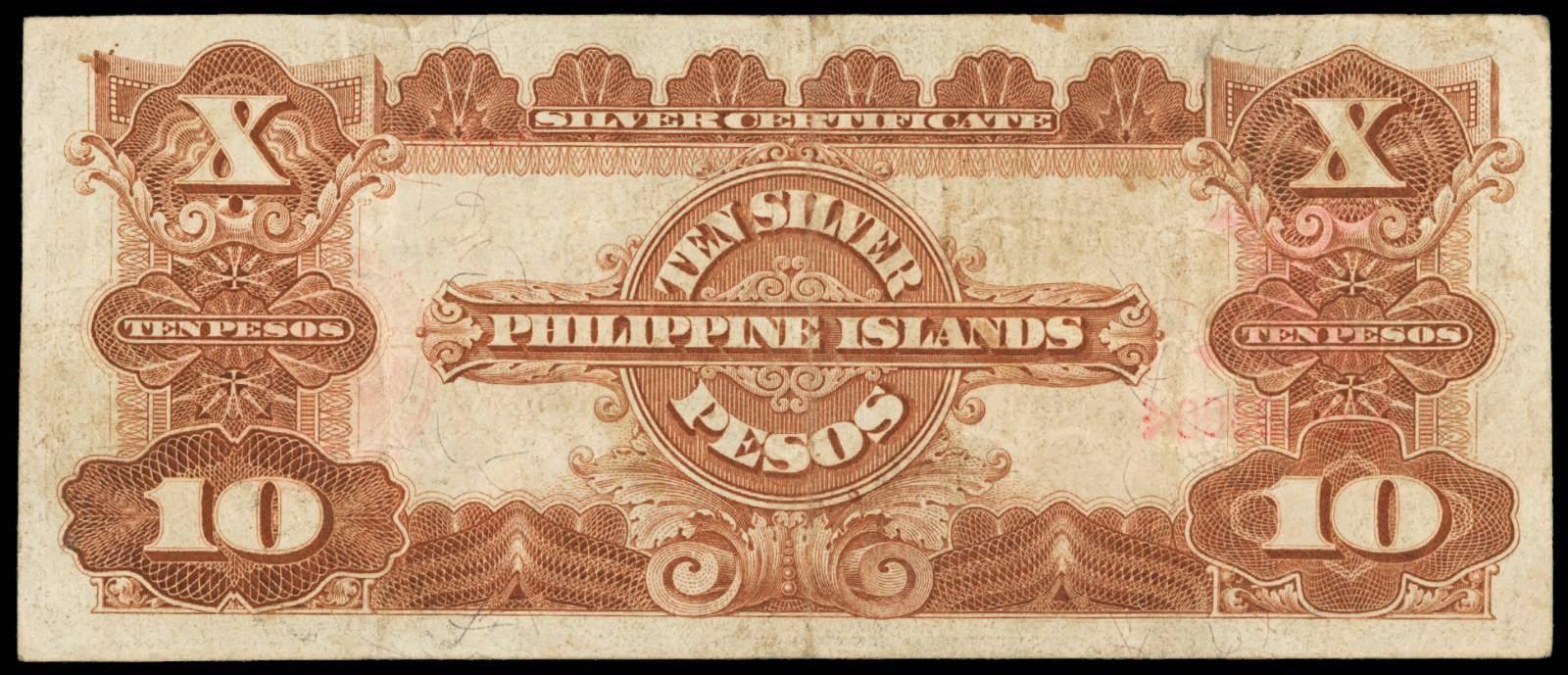1912 Philippine Islands Ten Silver Pesos Certificate