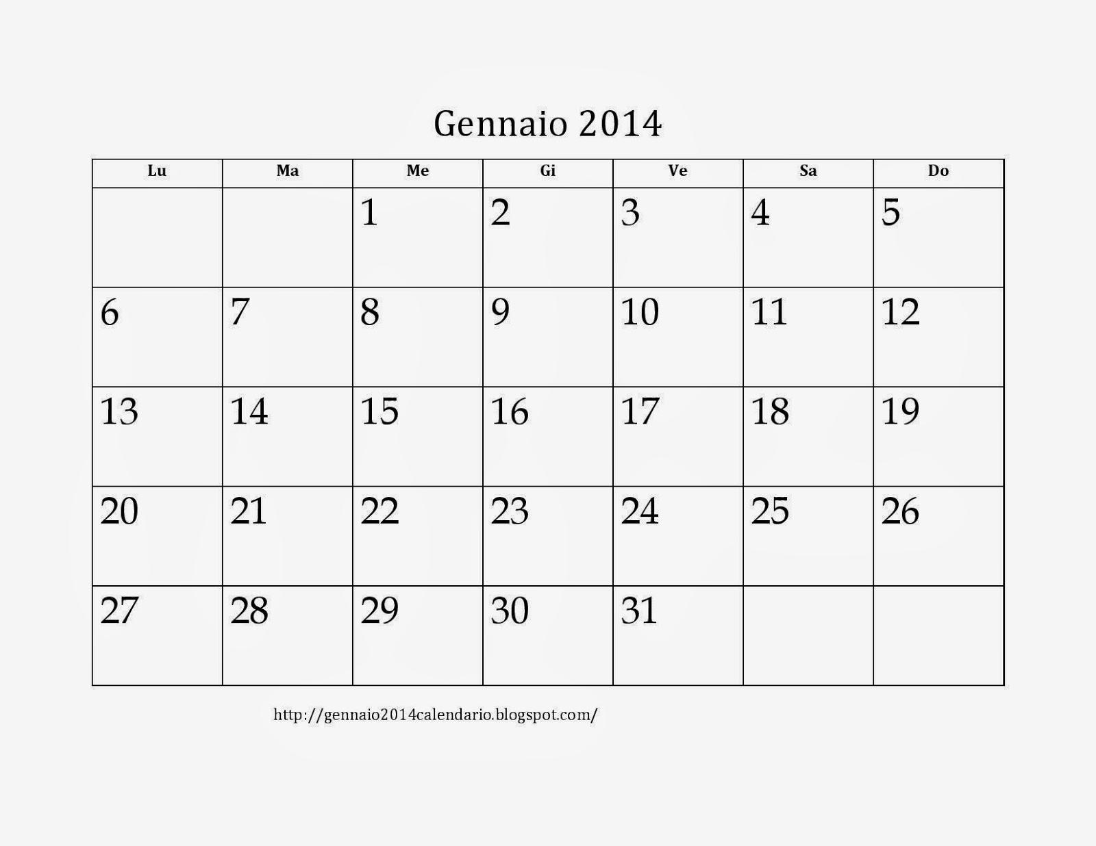 Stampabile Calendario 2020 Excel.Gennaio 2014 Calendario Pdf Stampabile Gennaio 2014