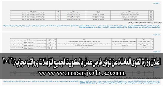 اعلان وزارة القوى العاملة عن توفير فرص عمل بالكويت لجميع المؤهلات برواتب مجزية 2016