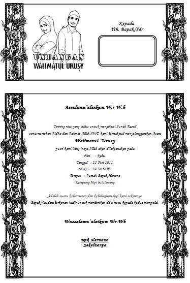 Contoh Undangan Pernikahan Kertas A4