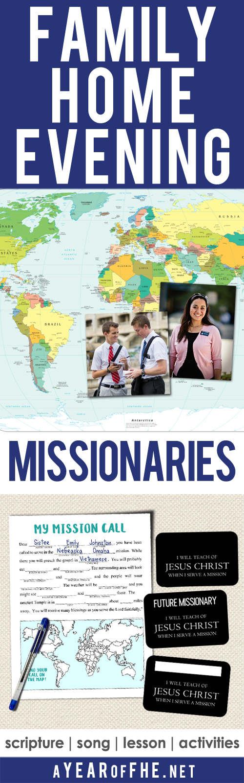 picture regarding Future Missionary Tag Printable named A Calendar year of FHE: Yr 02/Lesson 09: Missionaries