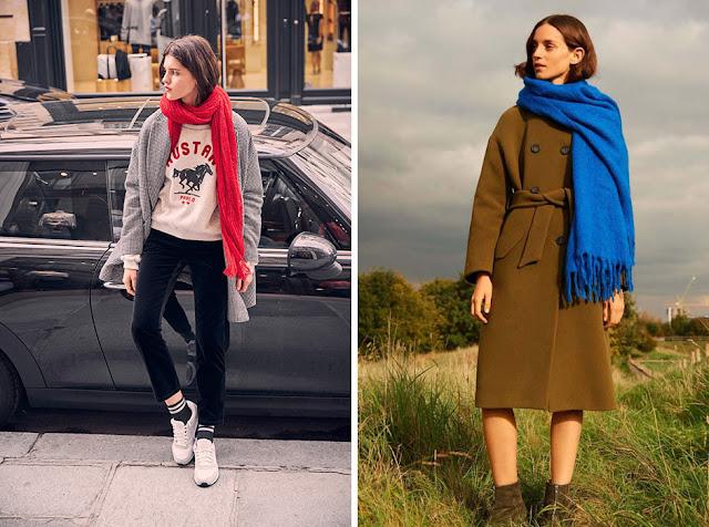 Девушки в пальто и длинном красном и синем шарфе