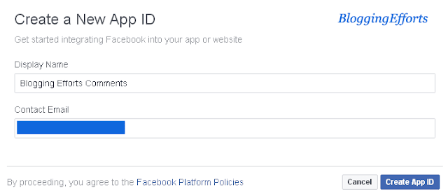 Create a New App ID at Facebook Developer