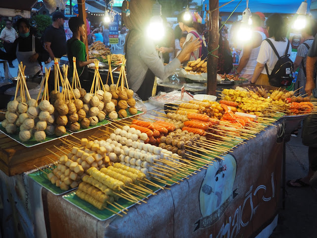 Dumplings stall at Naka Weekend Market, Phuket, Thailand