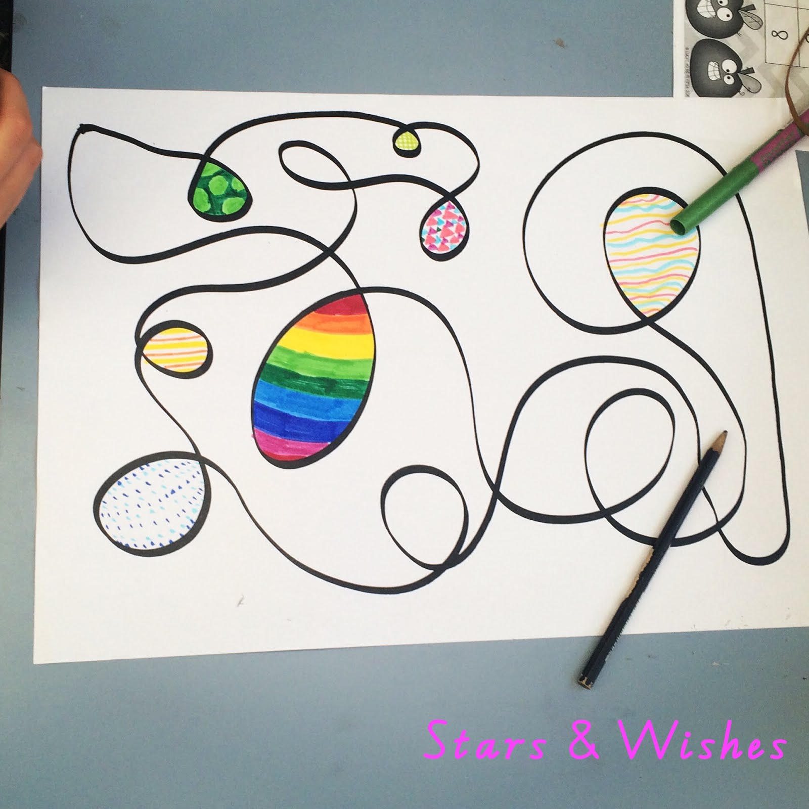 Line Drawing Activity : Stars and wishes easy art activity squiggle line drawings