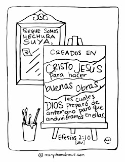 Spanish Bible verse coloring page