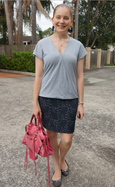 grey wrap top jacquard navy pencil skirt with pink Balenciaga sorbet city bag | away from blue