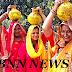 नवाह को लेकर महमदपुर में निकली कलश शोभा यात्रा