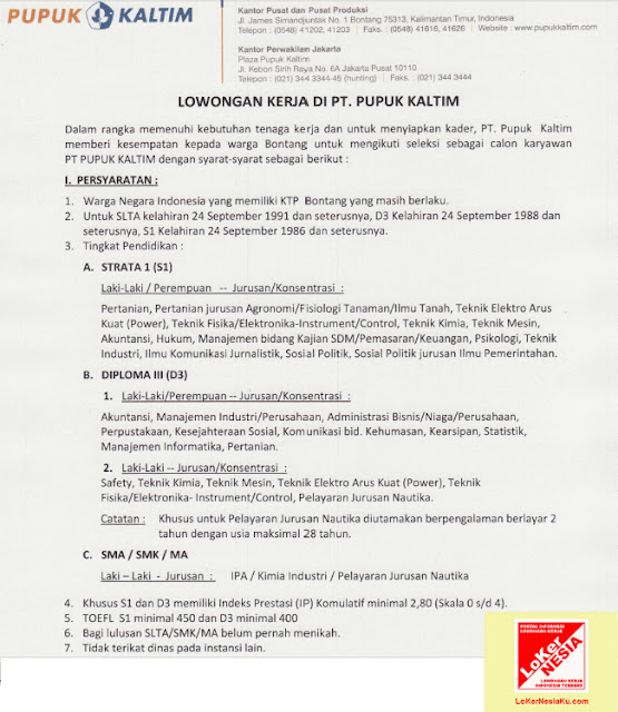 lowongan kerja pupuk kaltim september 2012