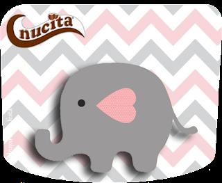 Etiqueta Nucita de Elefante Bebé en Rosado y Gris para imprimir gratis.
