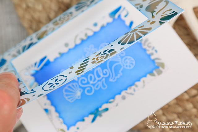 Vitamin Sea Foiled Window Card by Juliana Michaels featuring Newton's Nook Designs Vitamin Sea Stamp Set and Seashell Stencil