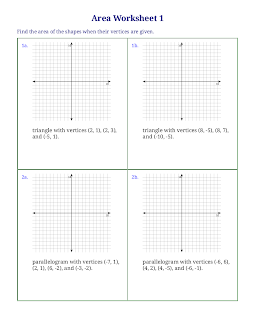 Free worksheets for area of triangles, quadrilaterals, and ...