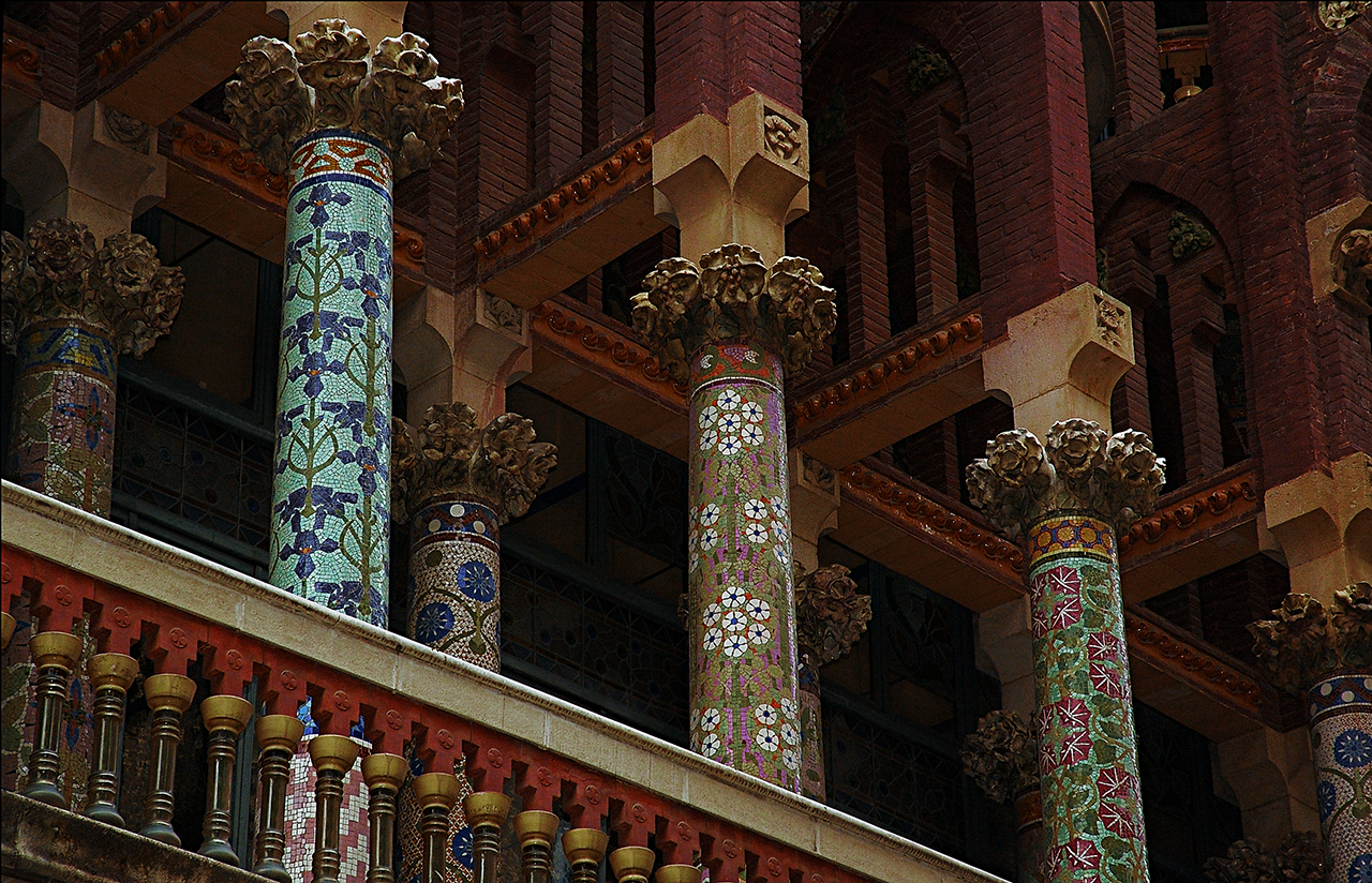 Mosaic Covered Pillars or columns at Palau de la Musica Catalana, Barcelona by Domenech i Montaner