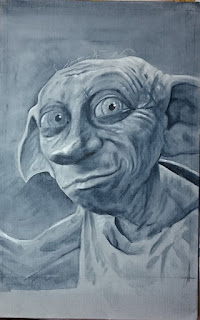 The completed underpainting of Dobby from Harry Potter - Robin Springett