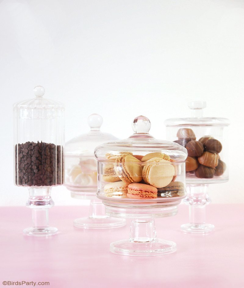 DIY Pedestal Candy Jars & $250 Giveaway - learn to make these pretty pedestal apothecary jars for your next party or as a DIY gift! by BirdsParty.com @BirdsParty