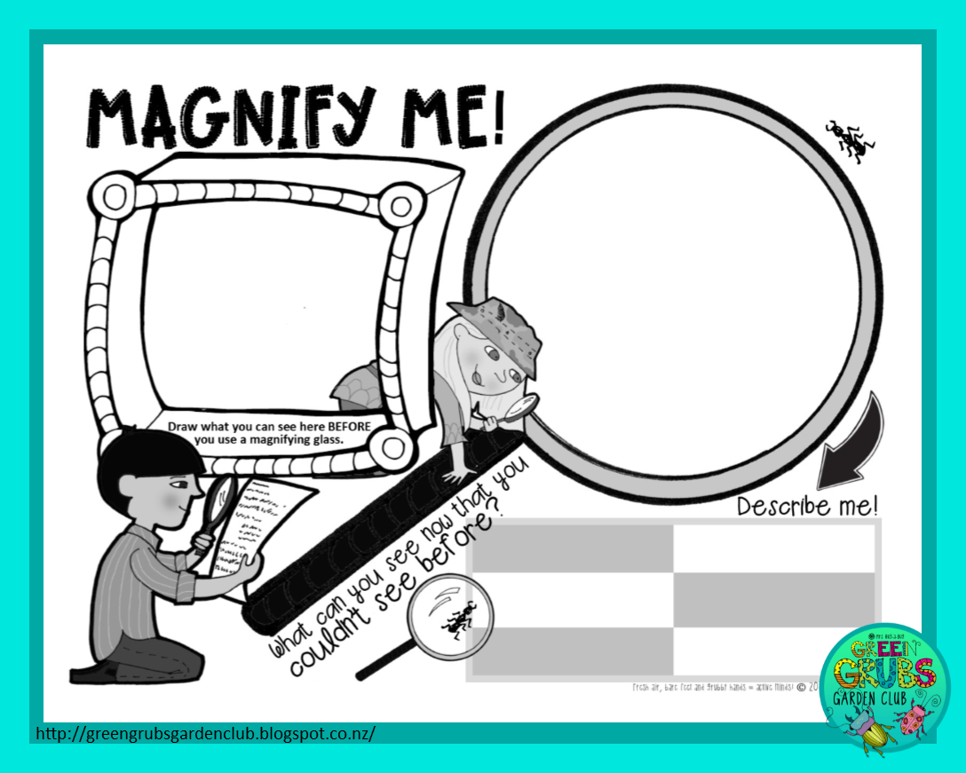 Green Grubs Garden Club Magnifying Glass Silliness Free Printable Activity Sheet