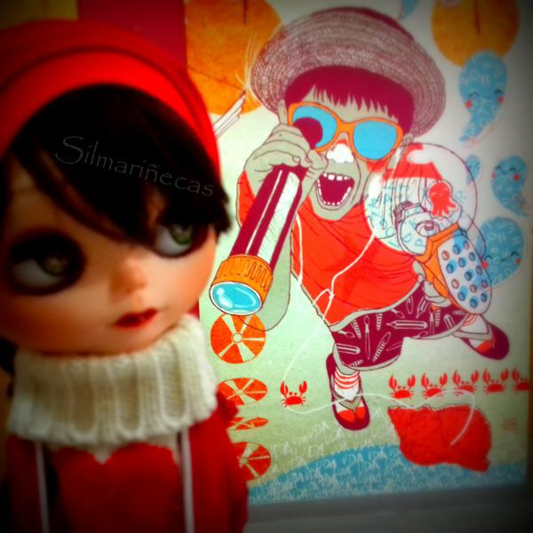 Caty y el mural del aula de cultura de Pozokoetxe
