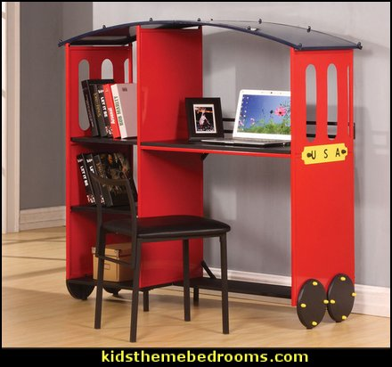 Red and Black Desk and Bookcase