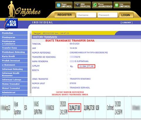 Selamat Kepada Member Setia Ompoker WD Rp 21.094.277