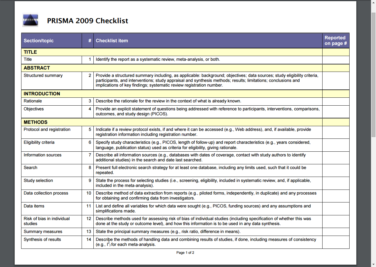 optimizing quality of systematic reviews with the prisma checklist by ishii le via jama facial plastic surgery online first optimizing quality of