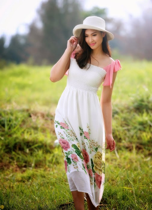 Beautiful girls and flowers and wild nature