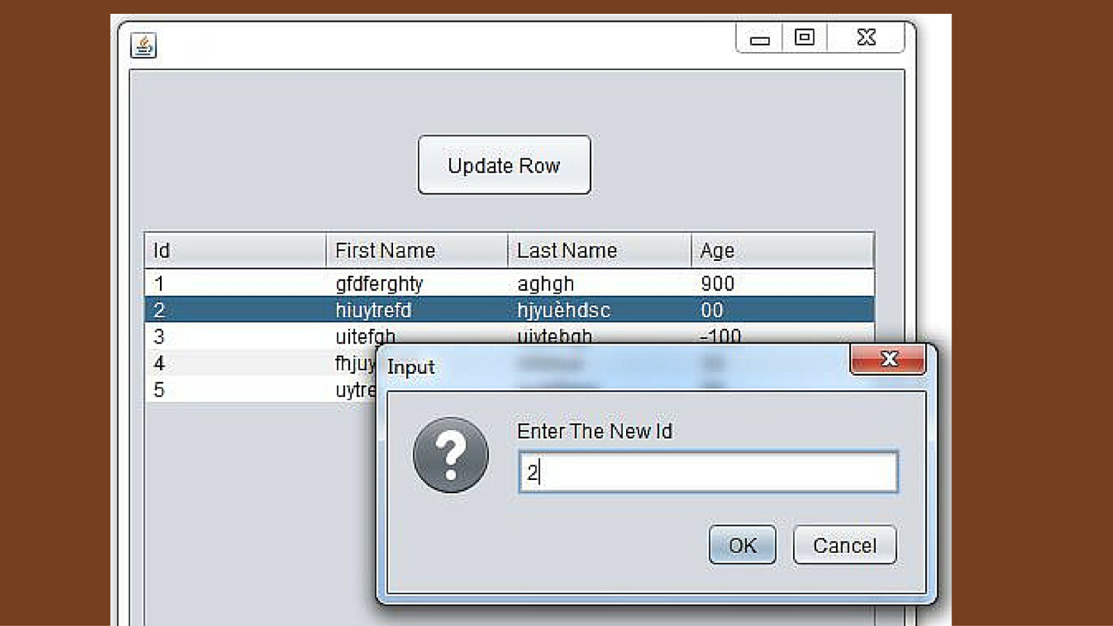 Java How To Update A Jtable Row Using Joptionpane