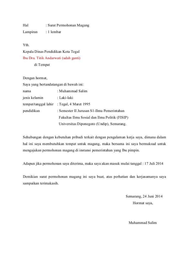Contoh Surat Permohonan Magang Di Kantor Hukum