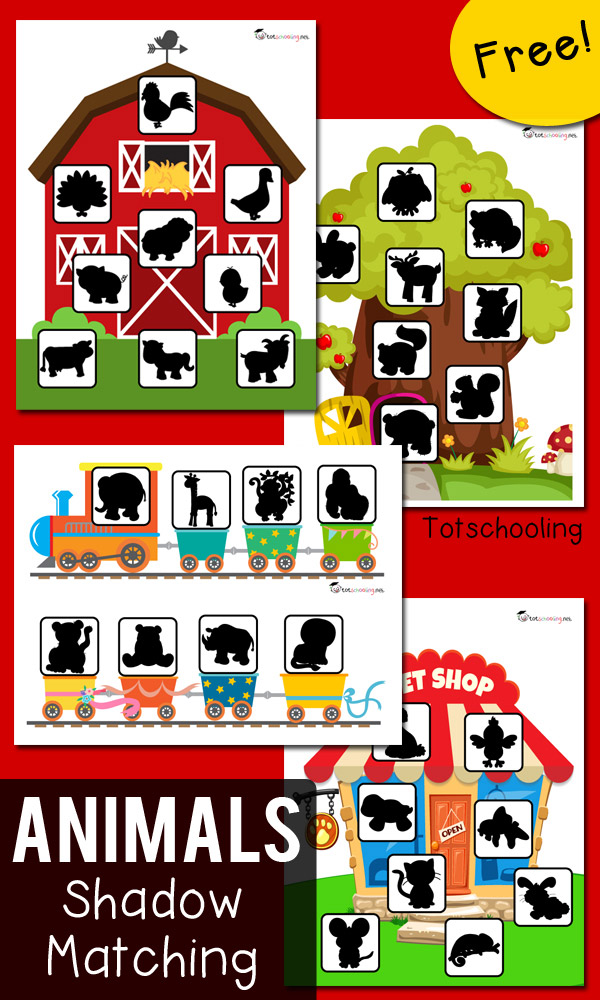 FREE shadow matching printables for toddlers and preschoolers featuring animal themes: farm, zoo train, pet shop, forest/woodland animals. Fun way to practice visual discrimination and increase vocabulary.
