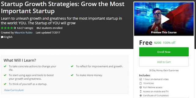 [100% Off] Startup Growth Strategies: Grow the Most Important Startup| Worth 200$