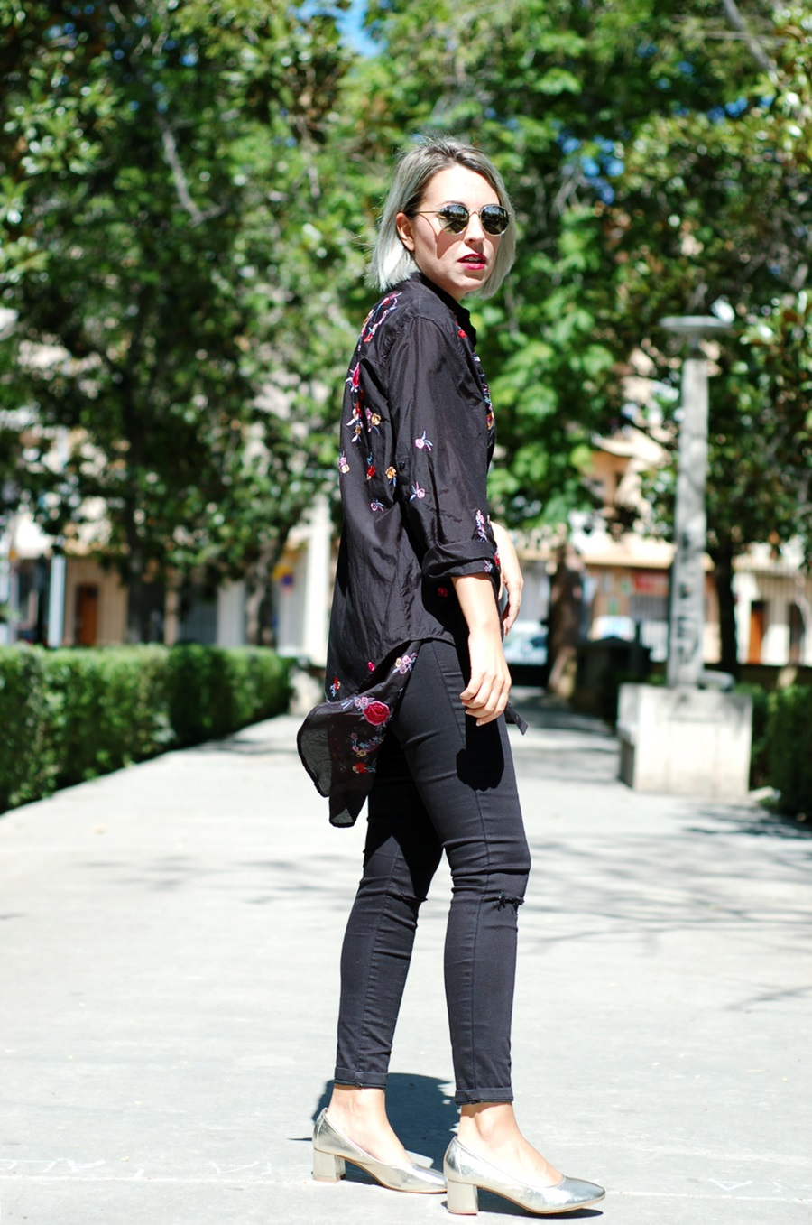 embroidered shirt Zara, granny shoes Pimkie sunnies Cheapass littledreamsbyr