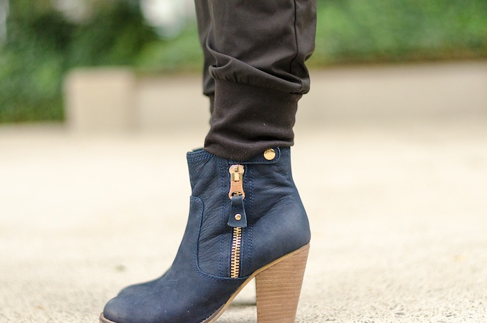 Navy blue ankle boots